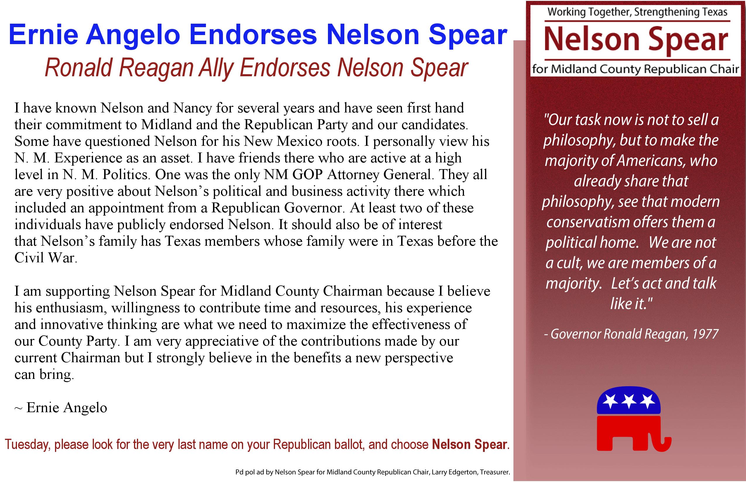 Ronald Reagan Ally Ernie Angelo Endorses Nelson Spear